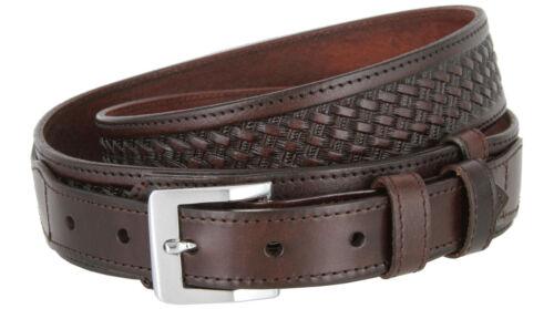 """Ranger Basketweave Embossed Leather Belt 1-1/2"""" - Billet 1"""" - 3 Colors Available"""