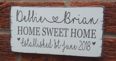 New Home Sweet Home Personalised Names Plaque Hanging Sign House Warming Gift