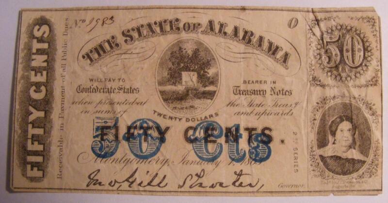 Civil War Confederate 1863 50 Cent Note The State of Alabama Bold Blue Overprint