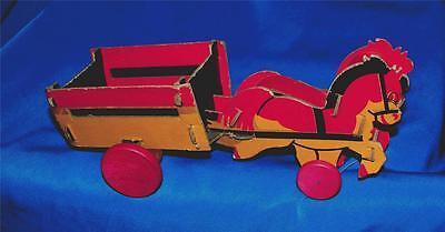 Vtg 1930s Jahre Fibro Dolly Spielzeug Company Karton Pferd Waggon Bonbon