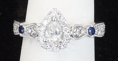 14k White Gold Vera Wang Love Collection Pear Halo Diamond Engagement Ring