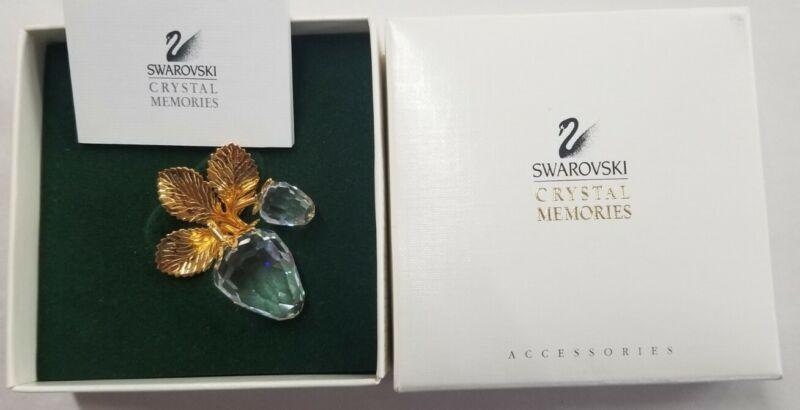 Signed Swan Swarovski Crystal Memories Strawberry Pin Brooch Box & mini catalog