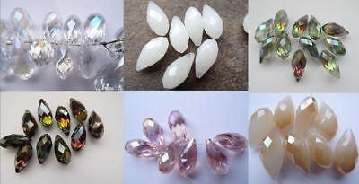 Glasperlen Tropfen 14 Stück 20 mm Farbwahl facettiert transparent AB Perlen g16* ()