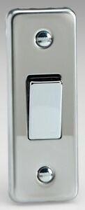 Varilight 1 Gang 10A 1 or 2 Way Rocker Architrave Switch Mirror Polished Chrome