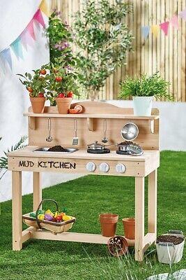 Mud Kitchen Kids Wooden Outdoor Indoor Role Play Steel Accessories Fun Toy