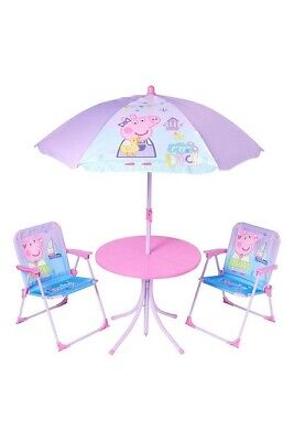 Kids Patio Set Garden Outdoor Table Chairs Parasol Deck Balcony Peppa Pig Picnic