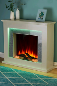 Cream fire Place surround with sparkle effect, crushed diamond £250