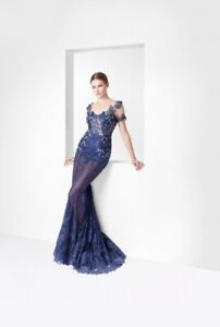 Dark Blue Long lace mermaid dress with beading for RENT Size M