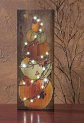 BITTERSWEET STACKED PUMPKINS LED LIGHTED BATTERY OPERATED CANVAS PICTURE