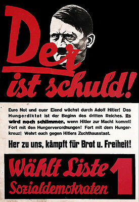 Hitler Propaganda Posters (Art Ad German 1920s Anti Hitler    Propaganda  Poster Print )