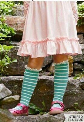 NEW Matilda Jane Perfectly Paired Striped Sea Blue Socks, Moments w/ You, Medium