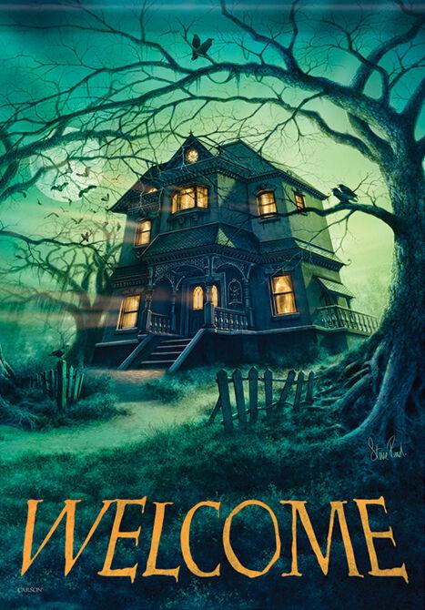 Garden Flag, Halloween, Haunted House / Mansion / Manor, Wel
