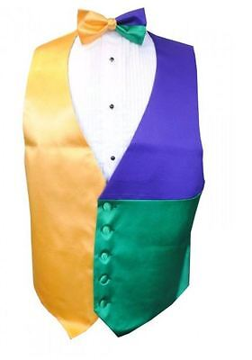 Mardi Gras Block Party Tuxedo Vest and Bow Tie Size Medium - Mardi Gras Tuxedo Vest
