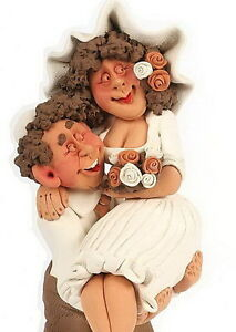 WEDDING-Marriage-Bride-Groom-Figurine-Sculpture-Pottery-Art-Judaica-Gift