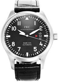 """IWC MARK XVII Pilots watch on leather calf skin strap"