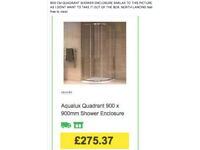 QUADRANT SHOWER ENCLOSURE 900mm brand new boxed