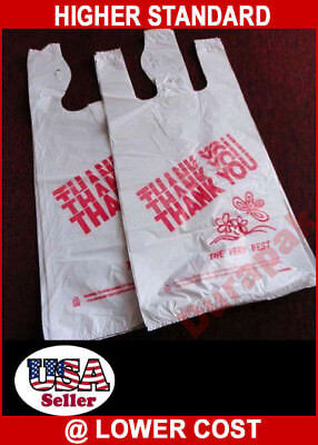 400 12x7x22 Large Retail Grocery Shop Thank You T Shirt Hdpe Bags Shopper Bag