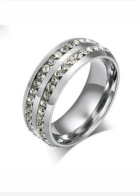 Men/Women's Silver Crystal Rhinestone Stainless Steel Ring Wedding Band Size 10