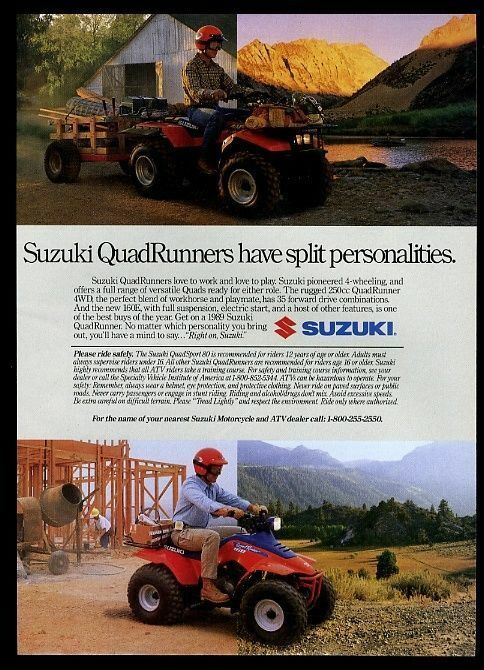 1988 Suzuki QuadRunner ATV 4 wheel motorcycle photo print ad