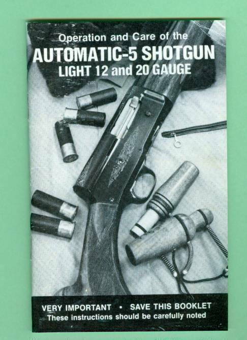 Browning  Model A5 Light 12 & 20 Owners Manual Reproduction
