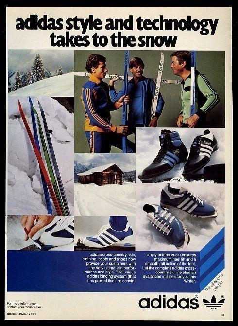 1978 Adidas cross country skiing ski boots 4 styles skis photo vintage print ad