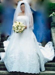 Exquisite  Mon Cheri Wedding Gown with Cathedral Train