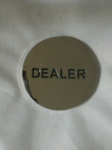 "Dealer Puck, Chrome Color, 2"" Metal Dealer Button"
