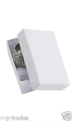 Lot Of 20 Solid White Print Cotton Filled Jewelry Gift Boxes 2 12 X 1 12 Box