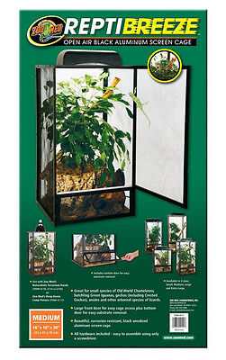 Zoo Med ReptiBreeze Open Air Screen Cage. Medium Reptile Cage. 16 x 16 x 30