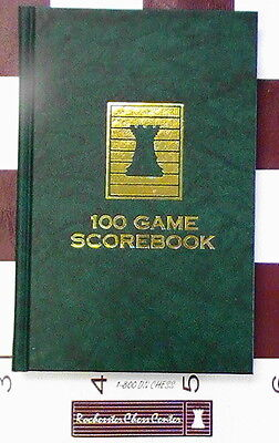 HARDCOVER CHESS SCOREBOOK - MARBLE GREEN - 100 GAMES - MADE IN USA - FREE SHIP