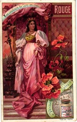 6 Cards c1901 Colours of the Rainbow Women Red  Orange Yellow Green MUCHA style