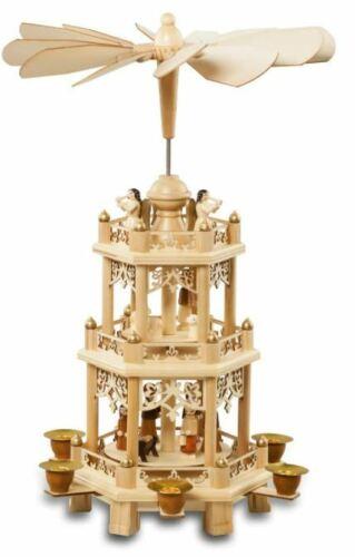 German Christmas Carousel Pyramid 18 Inches - Wood Nativity Scene windmill