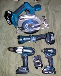 Makita LXT TOOLS with 5 Batteries