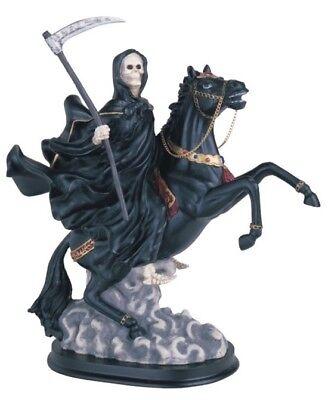 "12"" Black Santisima Santa Muerte Statue Holy Death Grim Reaper on Horse"