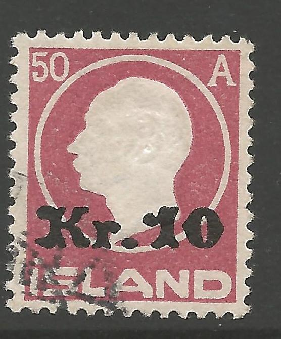 ICELAND SG148 1921 10k on 50a RED FINE USED