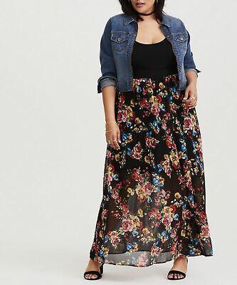 Torrid Plus Chiffon Skirt Black Floral Print Maxi Dress 4/4X Spring Summer