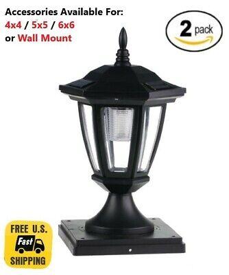 2 Pack Solar Light Black Post Cap Color LED 4x4/5x5/6x6 Or Wall Mount Hexagon  ()
