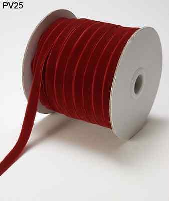 (3/8 Inch Velvet Woven Ribbon - May Arts - PV25 - Dark Red - 5 yards)