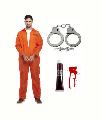 Mens Prisoner Orange jumpsuit Convict Overalls Fancy Dress Halloween Blood Cuffs ()