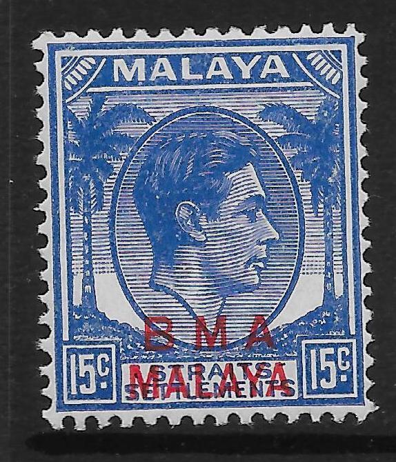 MALAYA BMA SG12b 1947 15c BLUE ON CHALKY MTD MINT