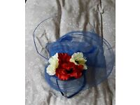 Cobalt blue feather flower fascinator