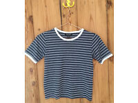 Topshop Ladies Grey And White Stripe Teeshirt Size 6