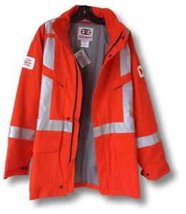 """Geliget Gear Flame Resistant Orange FR Parka with 2"""" Silver Tape (BRAND NEW)"""
