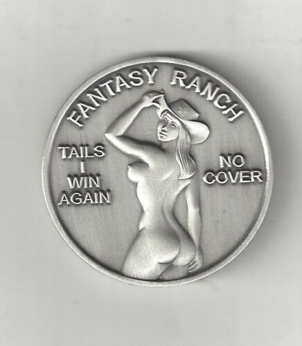 BUSTY TOPLESS NAKED WOMAN LADY COWGIRL HAT HEADS TAILS OXSILVER COIN TOKEN MEDAL
