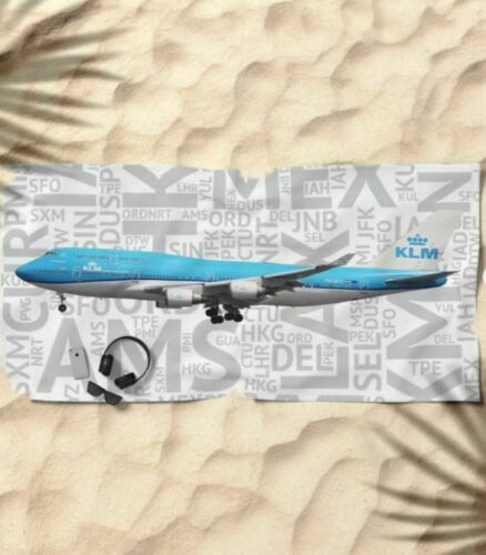KLM Boeing 747-400 with Airport Codes - Beach Towel