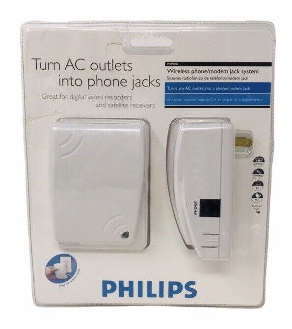 Philips Wireless Phone Modem Jack System AC Outlet Wall Plug In PH0900L