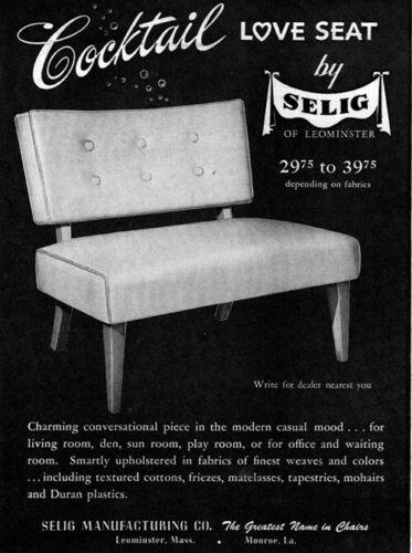 Selig of Leominster Cocktail Love Seat MIDCENTURY MODERN FURNITURE 1949 Print Ad