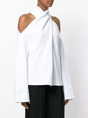Ria Dunn Rooms Criss-Cross Shoulder White Sweatshirt NWT Small Lost and Found