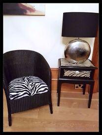 Beautiful Vintage Black Wicker Zebra Print Chair - Free Delivery