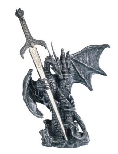 6 1/2 INCH SILVER DRAGON AND SWORD ATTACKING CASTLE TOWER FIGURINE